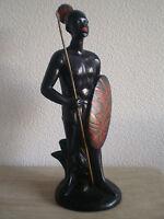 STATUE GUERRIER AFRICAIN DECO DESIGN 1950 ORIENTALISTE ANCIEN AFRIQUE NOIRE