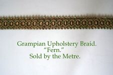 "Old Gold and Green Upholstery Braid ""Grampian Fern"" 18mm (sold by the Metre)"