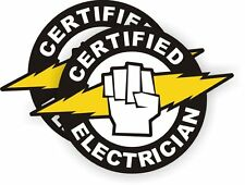 """Certified Electrician with BOLT(2 Pack) HardHat Sticker (size: 2"""" color: B/W/y)"""