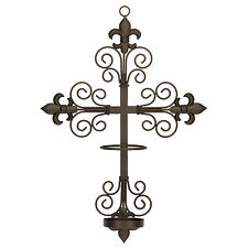 Fleur-de-lis Cross Wall Sconce,for 2.3x8 Saint Candles Flameless, LED, or Flame