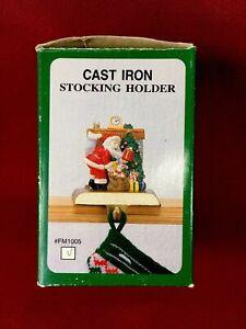 Cast Iron Christmas Stocking Holder Hanger Holiday Santa Claus Chimney Presents