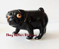 Pug (Mops) black dog Author's Porcelain figurine + Gift Box. NEW 2019