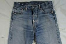 Levi 501 Button Fly Straight Leg Crazy Hige Denim Jeans Tag 34x36 Measure 32x33