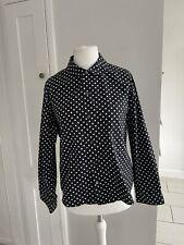 H & M Commes Des Garçons Zusammenarbeit Schwarz Polka Dot Shirt Größe 16