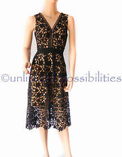 DOTTI Rosie Lace Midi Dress New Black Nude Lining Size 10 SKU512048 No Tags