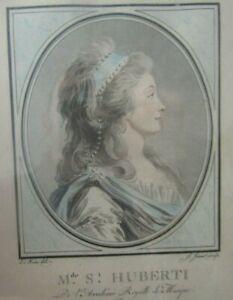 Jean-François JANINET gravure 1752-1814 Portrait de Madame de Saint Huberti