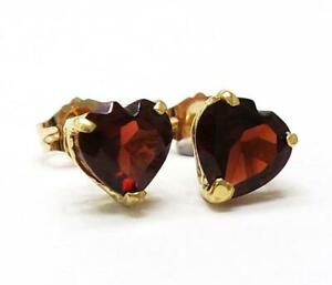SYJEWELLERY 9CT SOLID YELLOW GOLD HEART SHAPED NATURAL GARNET STUD EARRINGS E851