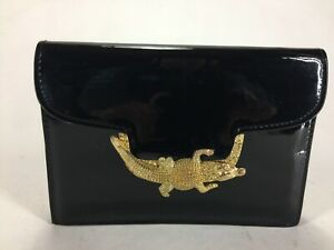 Vintage 1980s Black Patent Leather Gold Crocodile Cross Body Purse