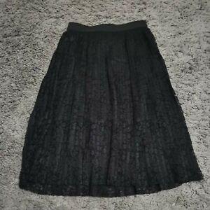 Ladies M&S Size 8 Petite Black Accordion Pleat Box Skirt