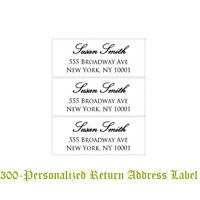 "300 Custom Printed Large Center Aligned Script Return Address Labels 1"" x 2-5/8"""