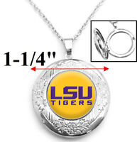 LSU Tigers Yellow Womens Sterling Silver Link Chain Necklace Locket D16