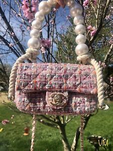 Chanel Tweed Flap Bag Pearl Handle 'By The sea' collection ** 100% AUTHENTIC!!!