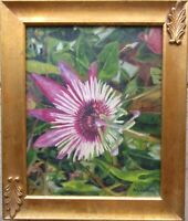 Original Oil Painting Floral PASSION FLOWER Hand-painted Artwork COA O/C Framed