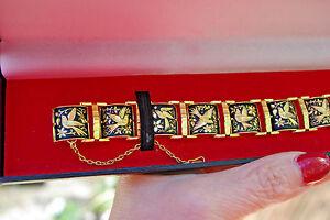 """Anframa Damasquinados 24K Gold Plated Handcrafted Birds 8"""" Bracelet Spain"""