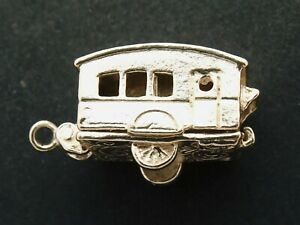 TOURING CARAVAN vintage sterling silver charm hollow charm opening by Nuvo
