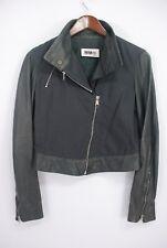 Maison Martin Margiela MM6 Cotton Leather Trim Moto Jacket Gray Italy Made 42
