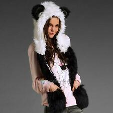 Hot Winter Panda Faux Fur Hat Scarf Fluffy Plush Cap Ear Hood Shawl Glove Unisex