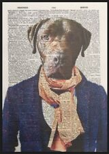 Chocolate Labrador Print Vintage Dictionary Page Wall Art Picture Humanised Dog