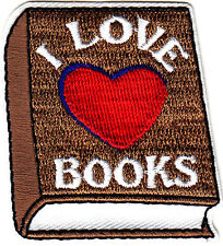 """""""I LOVE (HEART) BOOKS"""" - Iron On Embroidered Patch/Reading, Books, School, Words"""