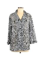 Cathy Daniels Women's Button Front Blouse Top Size Large Black White Floral