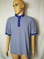 Vintage Taylormade Golf Blue White Striped Polo Shirt Taylor Made Mens VTG S/S
