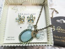Liz Palacios Genuine Amazonite & Swarovski elements necklace & earrings set
