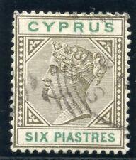 Chypre 1896 QV 6pi Sépia & vert très fine utilisé. SG 45. SC 33.