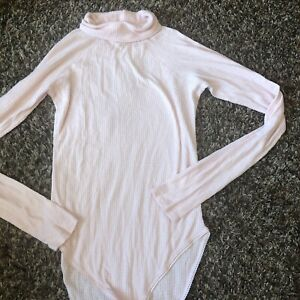 Free people Intimately Bodysuit Medium Womens Top Long Sleeve Pink Turtleneck