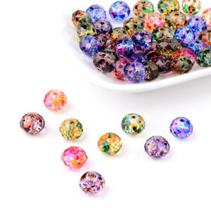 50pcs Random Rondelle Glass Beads Unique Spray Painted Faceted Loose Beads 10mm