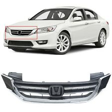 For 2013 2014 2015 Honda Accord 4D Black & Chrome Front Bumper Hood Grille