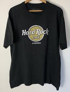Hard Rock Cafe Florence Mens Size XL Shirt Black 3D Logo Silver Gold Merch Tee