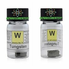 Tungsten metal element 74 W sample rods ~5 grams 99,99% in labeled glass vial
