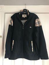 Burberry London Men's Spring Jacket Size XL Black Zip Up 100% Cotton Beautiful