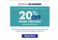 Bed Bath and Beyond  20% Off Entire Purchase 1coupon - expires 06-14-2019