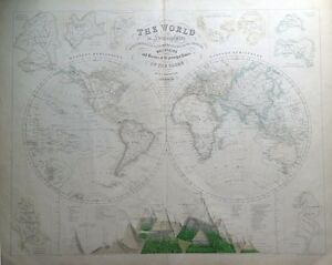 THE WORLD IN HEMISPHERES + Mountains & Rivers Chart, Fullarton antique map c1860