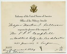 USA Embassy Military Attache invitation to Canada Consul in Shanghai China 1947