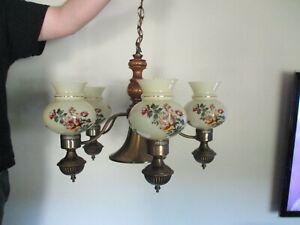 Vintage 5 Arm Chandelier Light Fixture Antique Brass Wood Shaft