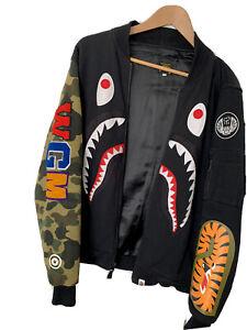 100% Genuine BAPE, A Bathing Ape Bomber Jacket, Shark, - Black, Large