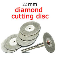 Useful 5x 22mm Emery Diamond Coated Cutting Discs blades+1 Mandrel Drill Bit