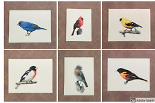 Set of 6 or 12 Handmade Bright Birds Print Blank Note Cards