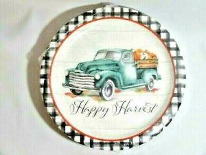 Happy Harvest Vintage Blue Truck 18-Pc Banquet Party Plates Pumpkins Checks NIP