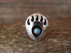Navajo Indian Jewelry Sterling Silver Turquoise Bear Paw Ring! Size 4.5 - L. ...