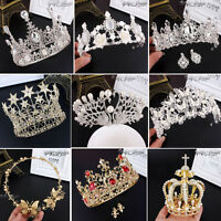 Wedding Bridal Women Lady Headband Party Prom Pageant Crystal Gold Tiara Crown