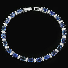 Sterling Silver 925 Genuine Natural Kyanite & Lab Diamond Bracelet 7 Inches