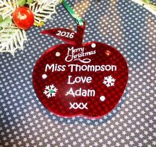 Personalised Teacher/Classroom Assistant Apple Christmas Gift Red  FREE GIFT BAG