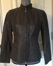Alfani  Women Suede Leather Jacket Duville Suiting Chocolate Size Smell