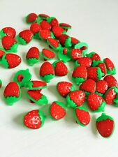 10 Pcs Red strawberry Plastic Buttons art 289