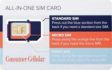 Consumer Cellular - All-In-One Sim Card At&T - White