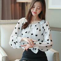 Spring Women Bell Sleeve Chiffon Casual Loose Long Sleeve Shirt Blouse +Tank Top