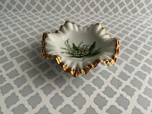 Vintage Jewelry Vanity Dish With Gold Trim Green Leaves